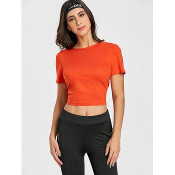 Sports Back Wrap Cropped T-shirt - RED ORANGE RED ORANGE