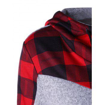 Plaid Drawstring Neck Hoodie - RED L