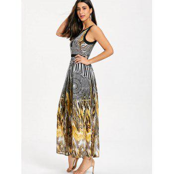 Round Leopard Printed Sleeveless Maxi Dress - BLACK M
