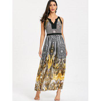 Round Leopard Printed Sleeveless Maxi Dress - BLACK L