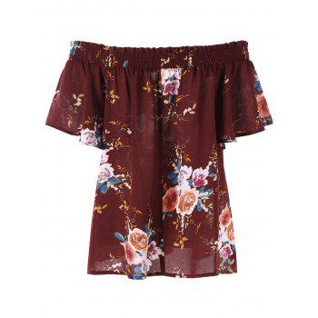 Plus Size Off The Shoulder Floral Bohemian Blouse - DARK RED XL