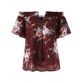 Plus Size Off The Shoulder Floral Bohemian Blouse - DARK RED 4XL