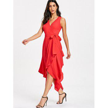 Sleeveless Flowy Handkerchief Hem Dress - RED L
