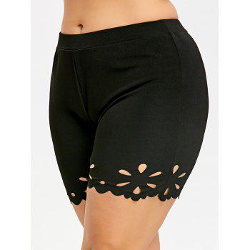 Plus Size Scalloped Edge Fitted Shorts - BLACK 3XL