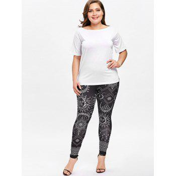 Plus Size Ethnic Monochrome Leggings - BLACK 4XL