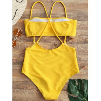 Strapless Top and High Rise Cami Swim Bottoms - YELLOW M