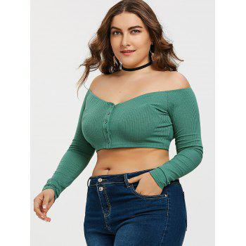 Off Shoulder Buttons Plus Size Tee - GREEN 3XL