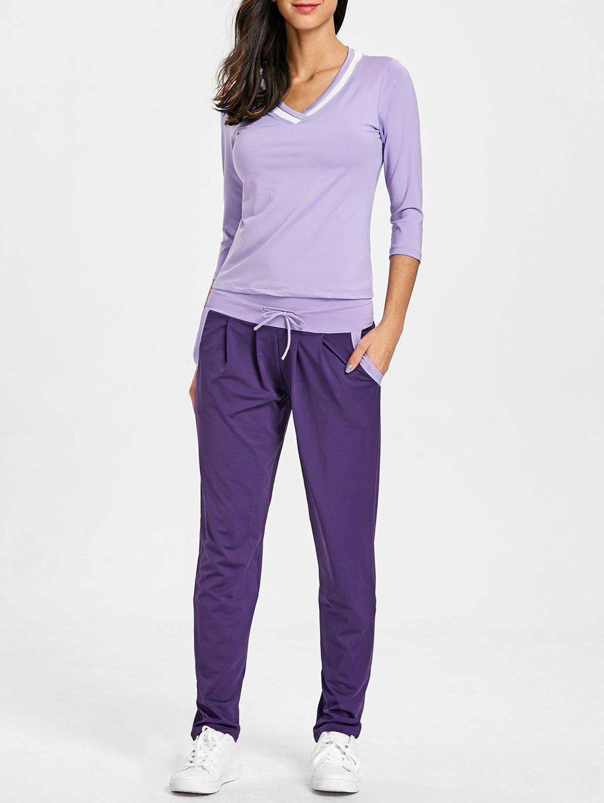 V Neck T-shirt and Drawstring Workout Pants - PURPLE L