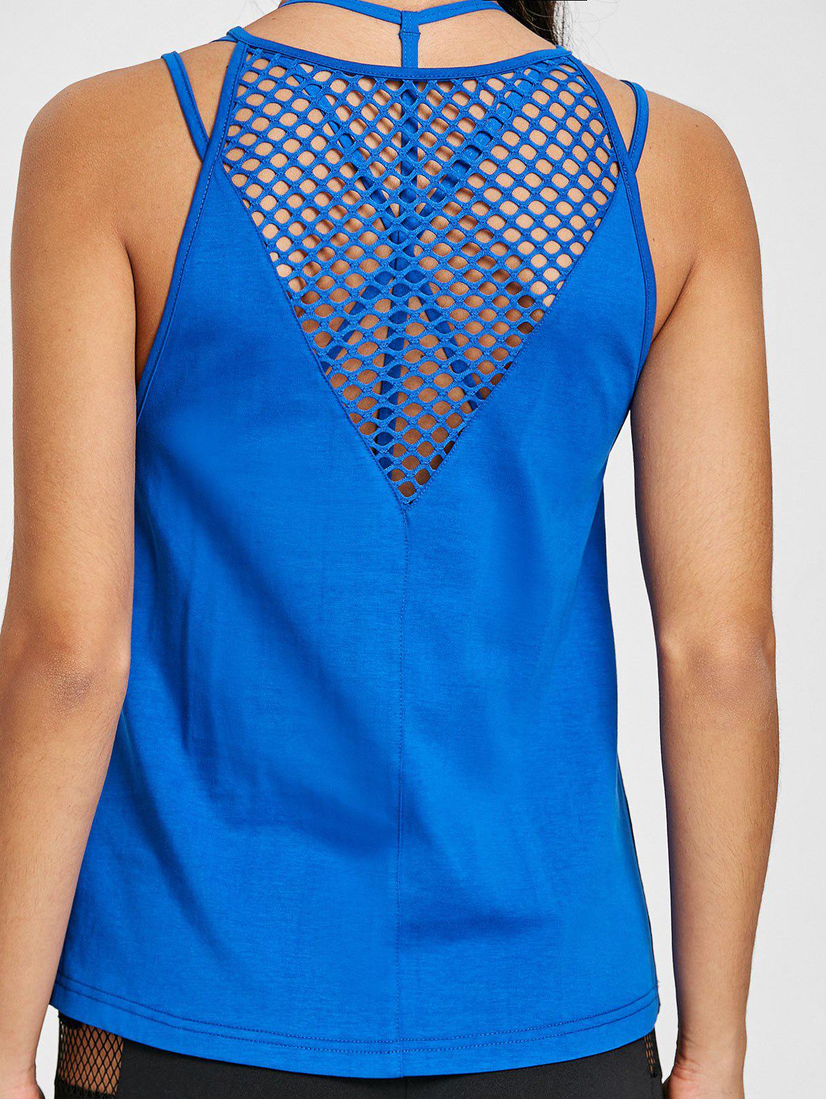 Sports  Openwork Fishnet Tank Top - ROYAL S