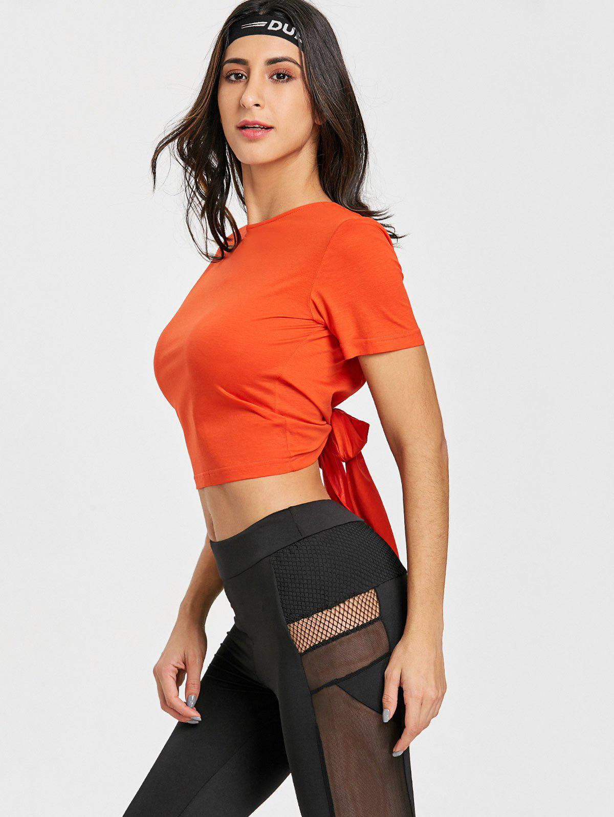 Sports Back Wrap Cropped T-shirt - RED ORANGE S