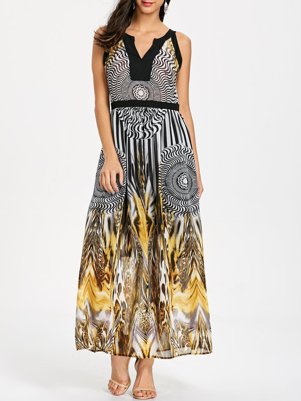 Round Leopard Printed Sleeveless Maxi Dress - BLACK 2XL