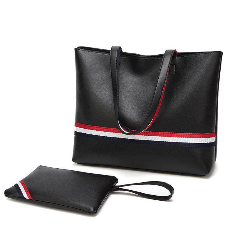 Striped 2 Pieces PU Leather Shoulder Bag Set - BLACK