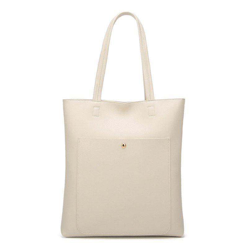 Minimalist Front Pocket Shoulder Bag - WHITE