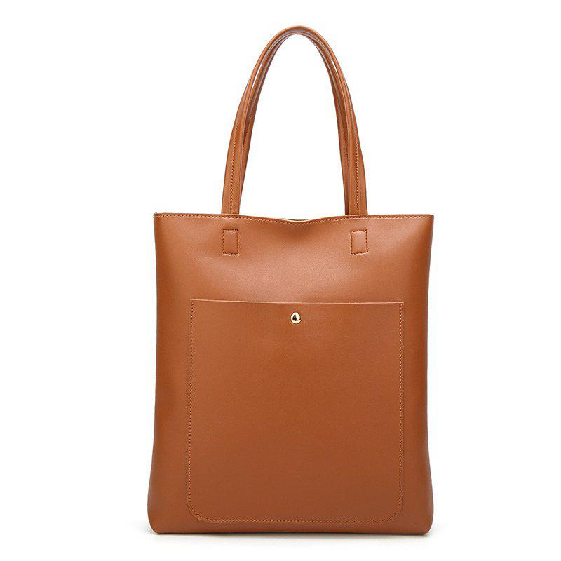 Minimalist Front Pocket Shoulder Bag - BROWN