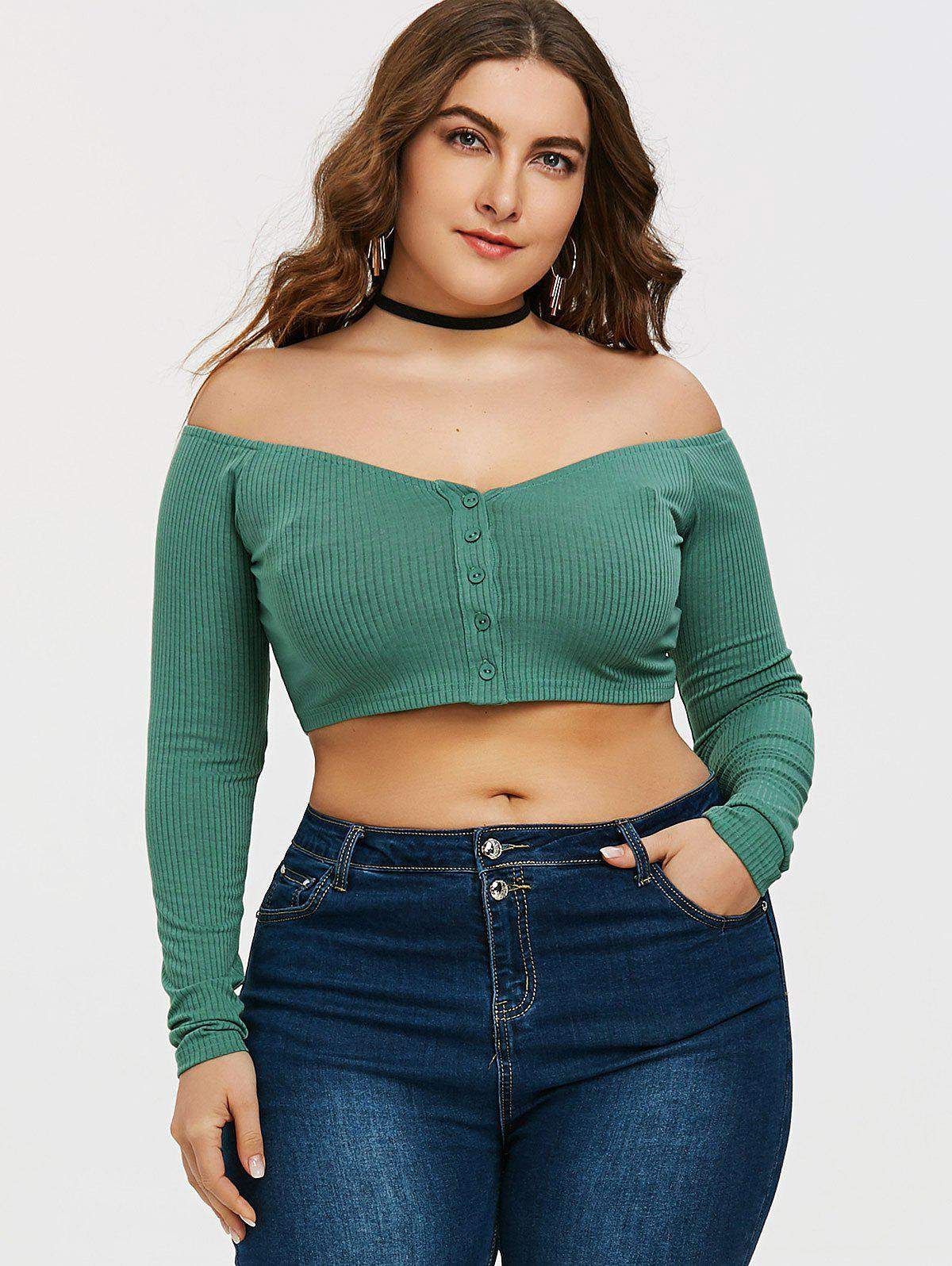 Off Shoulder Buttons Plus Size Tee - GREEN 2XL