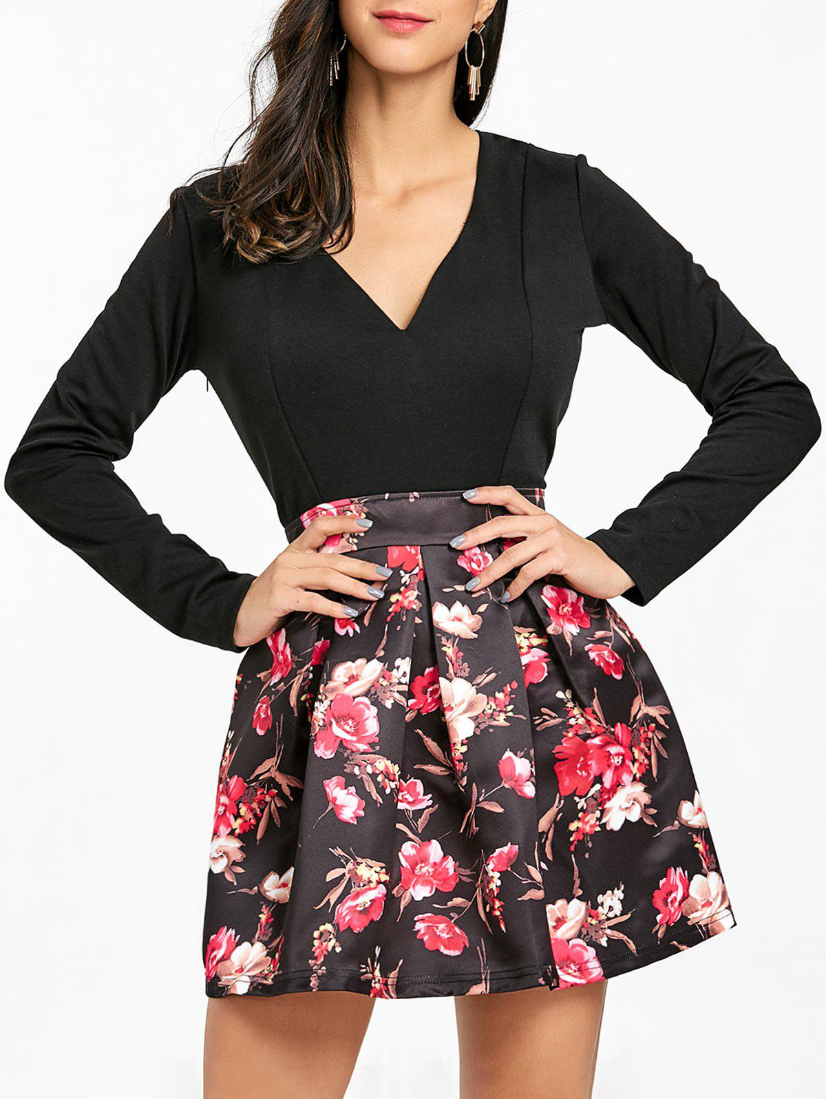 V Neck Floral Print Skater Mini Dress - BLACK XL