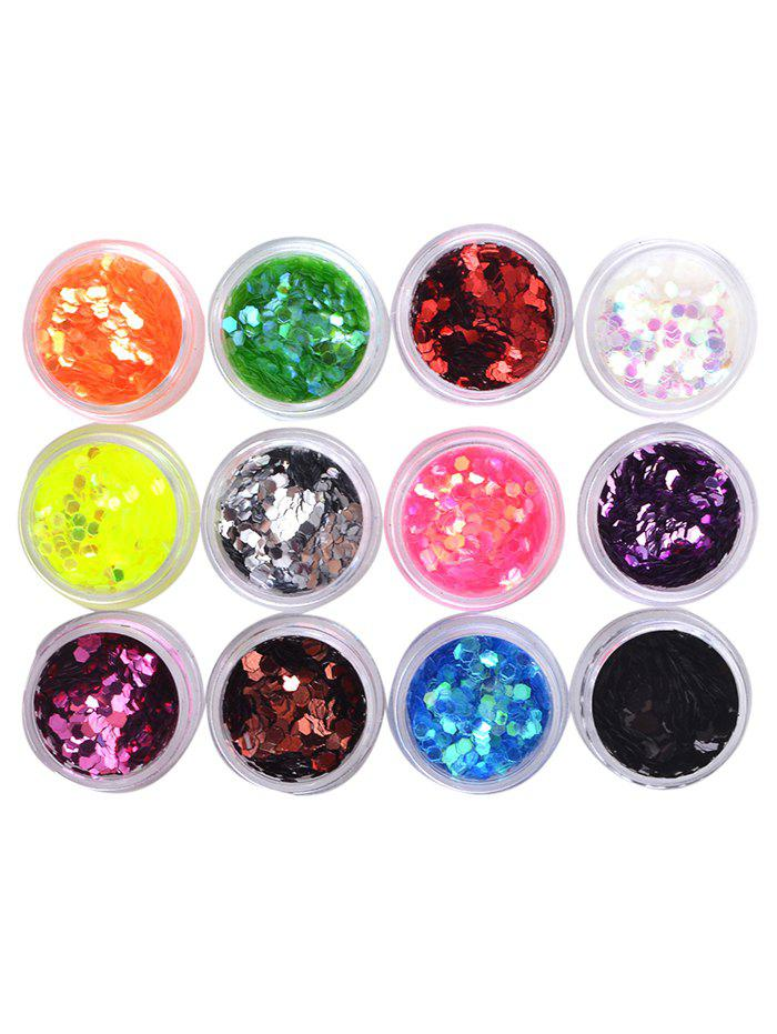 12 Colors Glitter Acrylic Nail Art DIY Sequins Powder 3d 12 candy colors glass fragments shape nail art sequins decals diy beauty salon tip free shipping