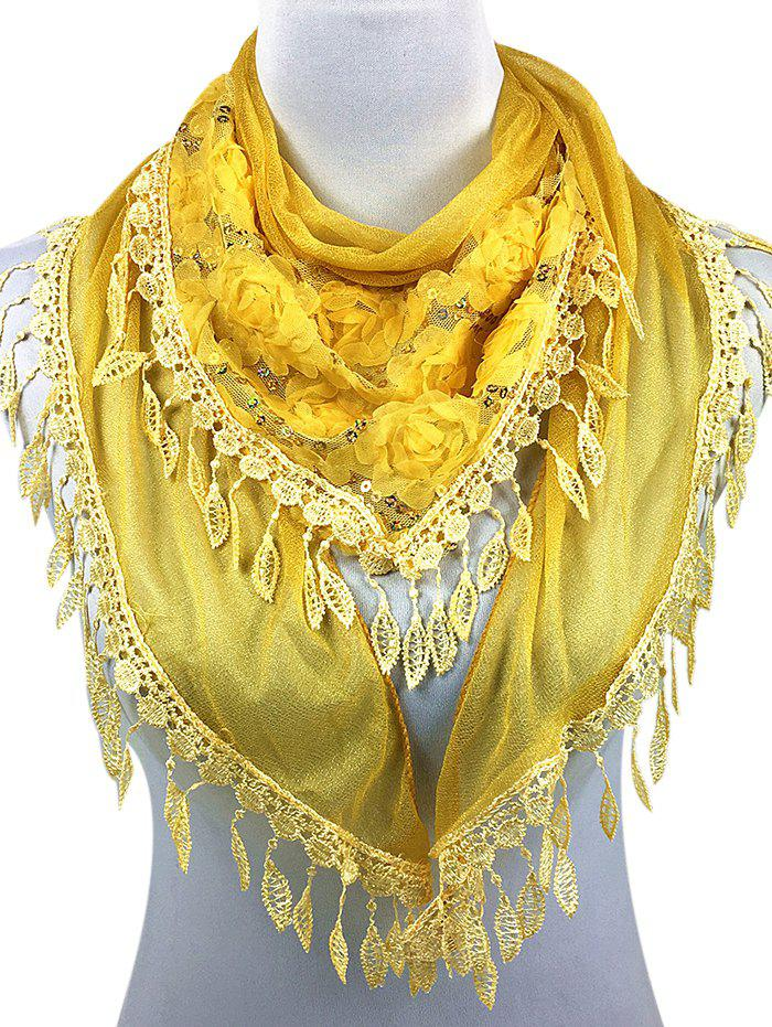 Romantic Rose Embellished Silky Long Scarf romantic rose embellished silky long scarf