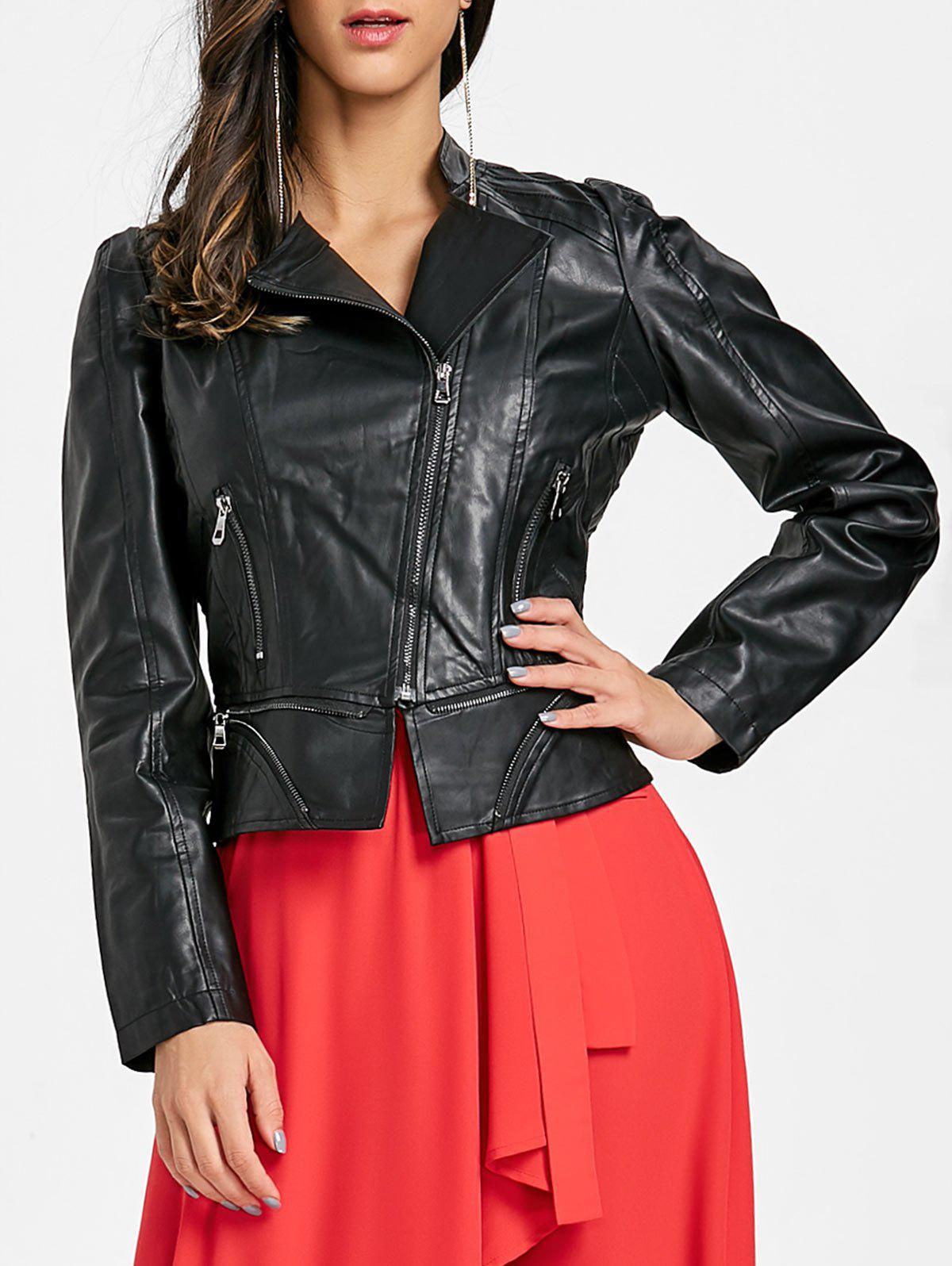 Zip Fly Biker Jacket - BLACK XL