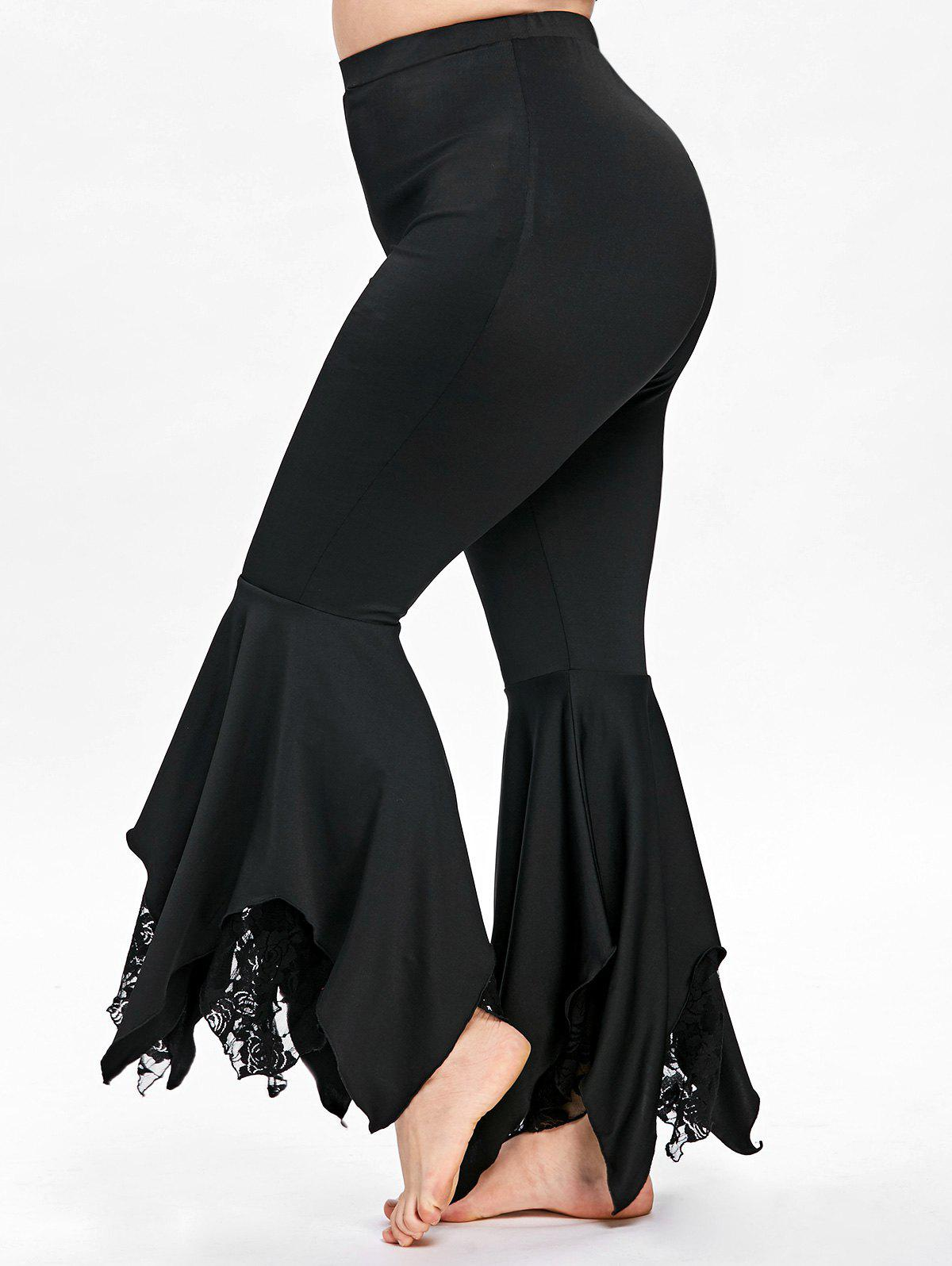 Plus Size Handkerchief Hem Flare Pants - BLACK 4XL