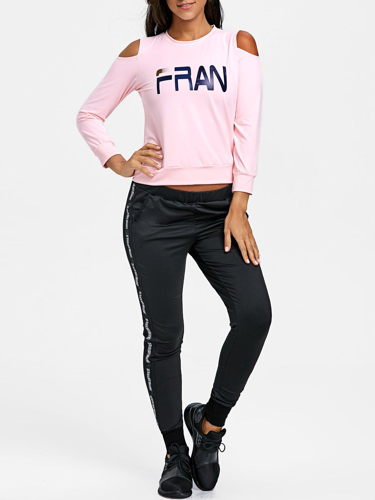 Graphic Cold Shoulder Three Piece Sweat Suits - PINK L