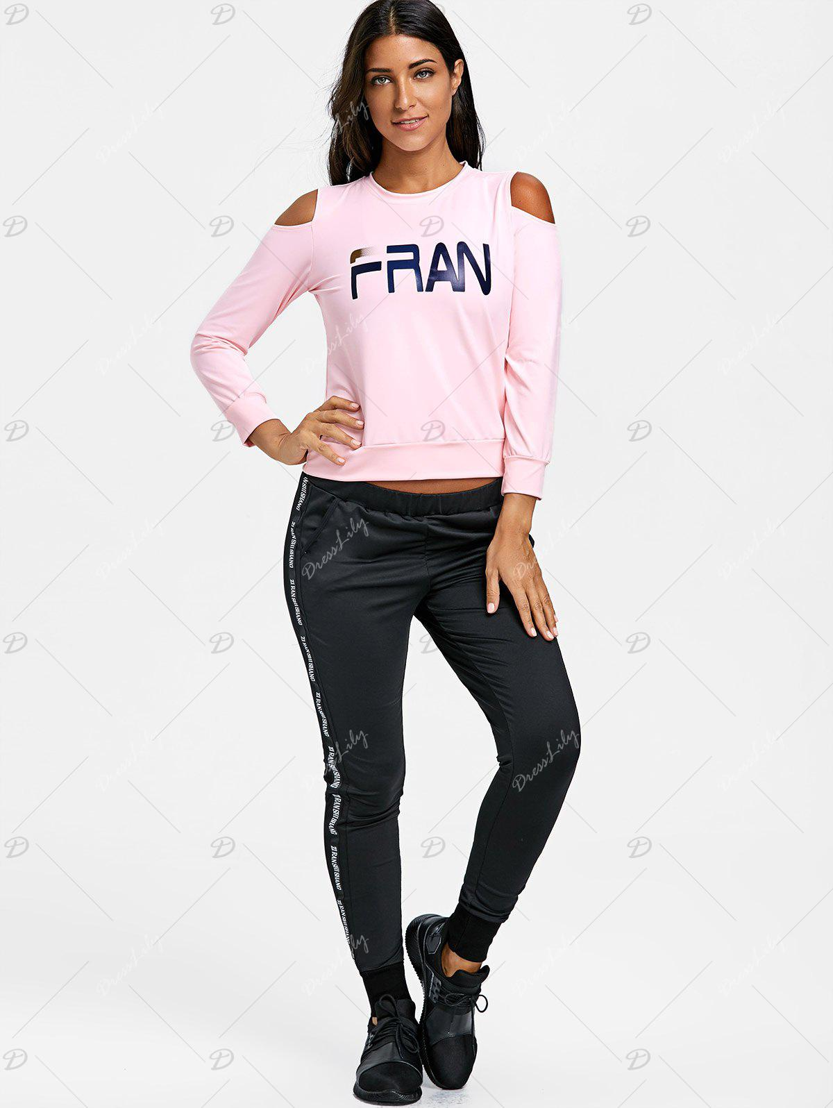 Graphic Cold Shoulder Three Piece Sweat Suits - PINK M