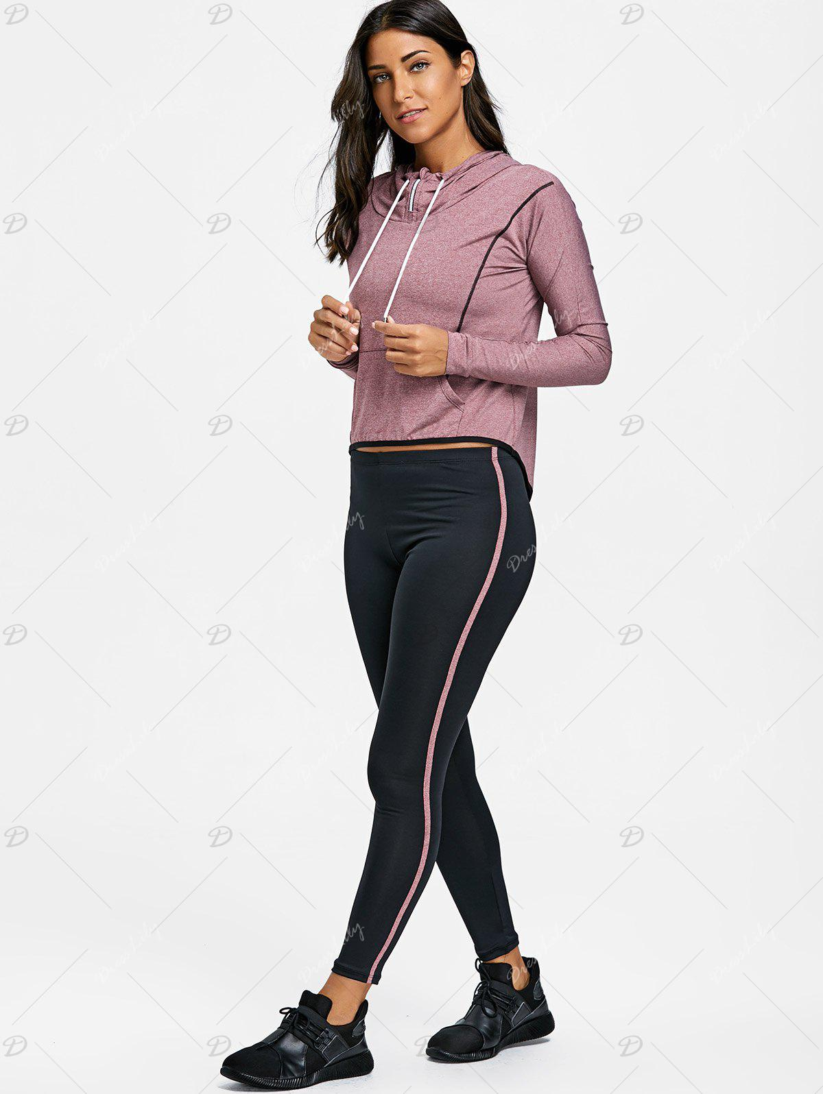 High Low Hooded Three Piece Sweat Suits - PURPLISH RED L