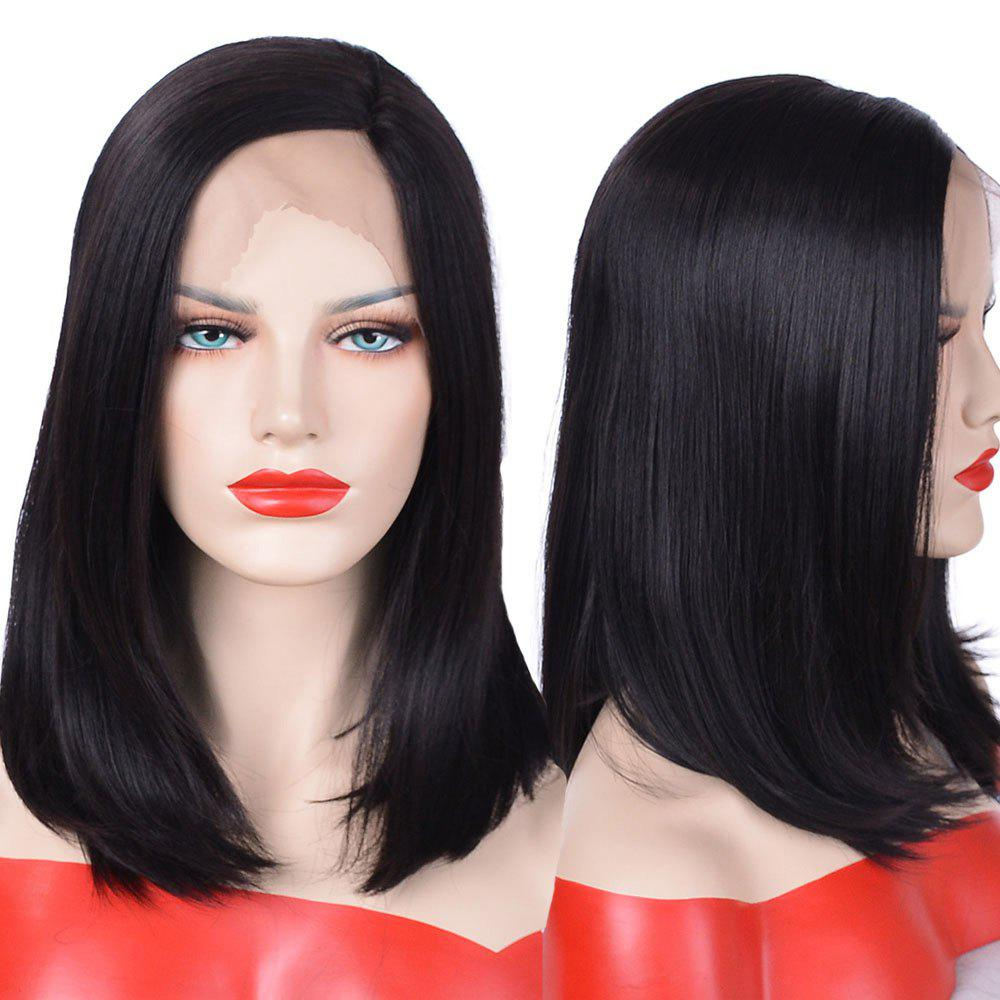 Medium Side Parting Straight Bob Synthetic Lace Front Wig - BLACK