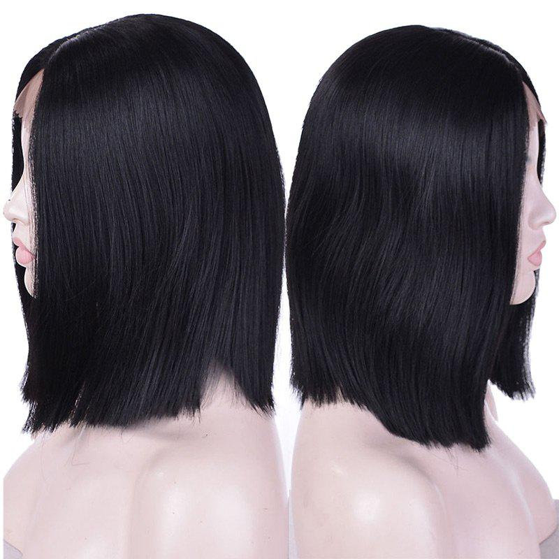 Short Middle Part Straight Synthetic Lace Front Wig - BLACK