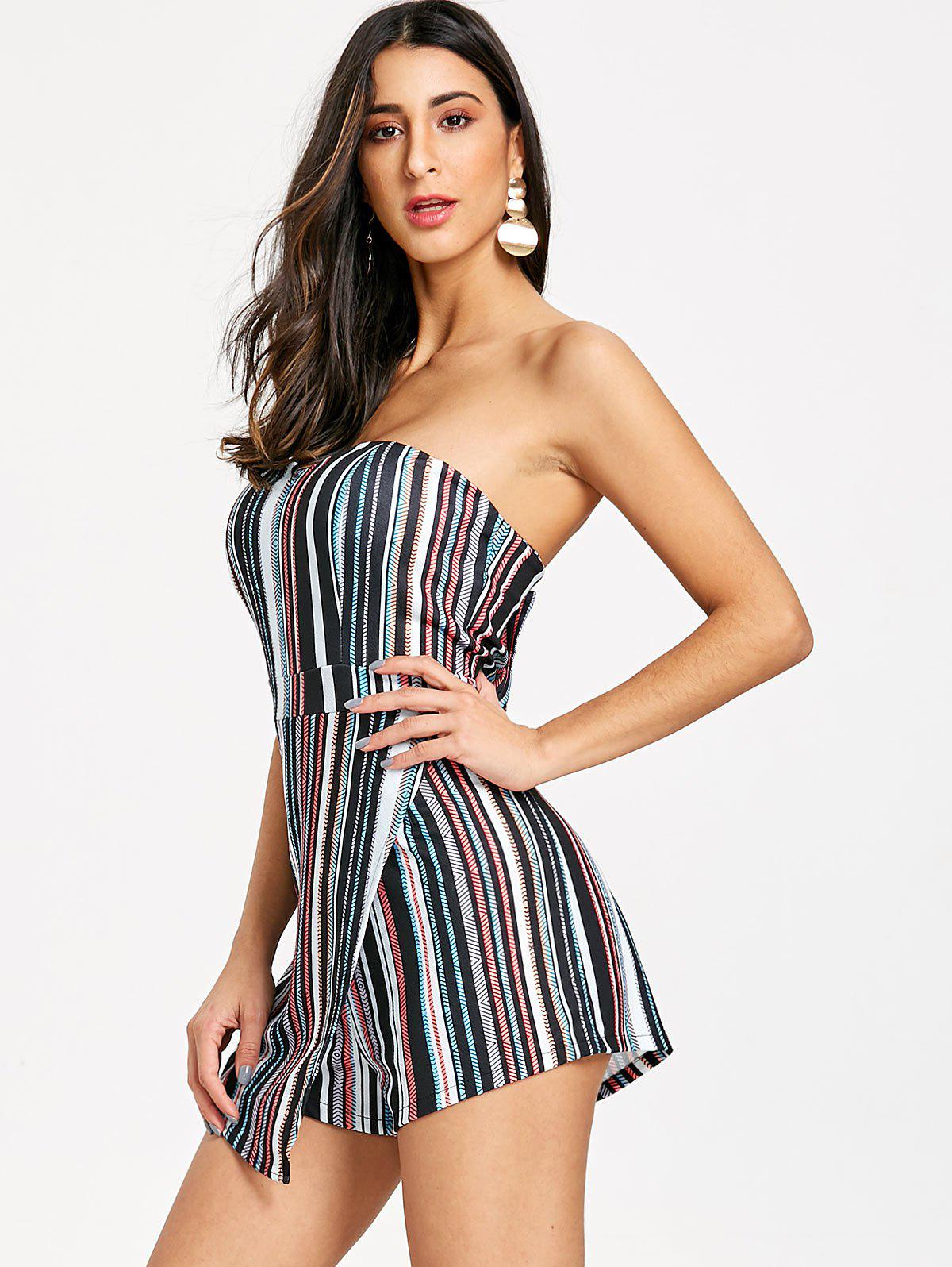 Padded Striped Asymmetrical Bandeau Romper - COLORMIX L
