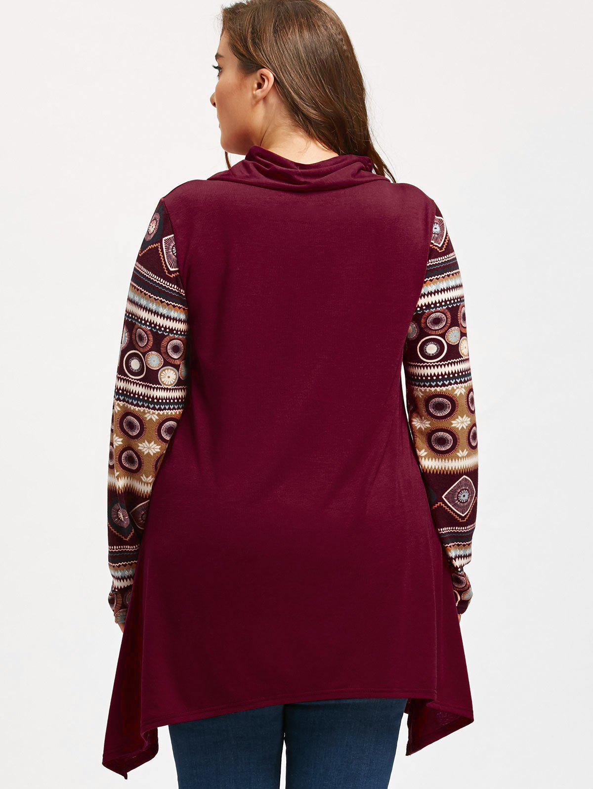 Heaps Collar Long Sleeve Plus Size Sharkbite T-shirt - WINE RED 2XL
