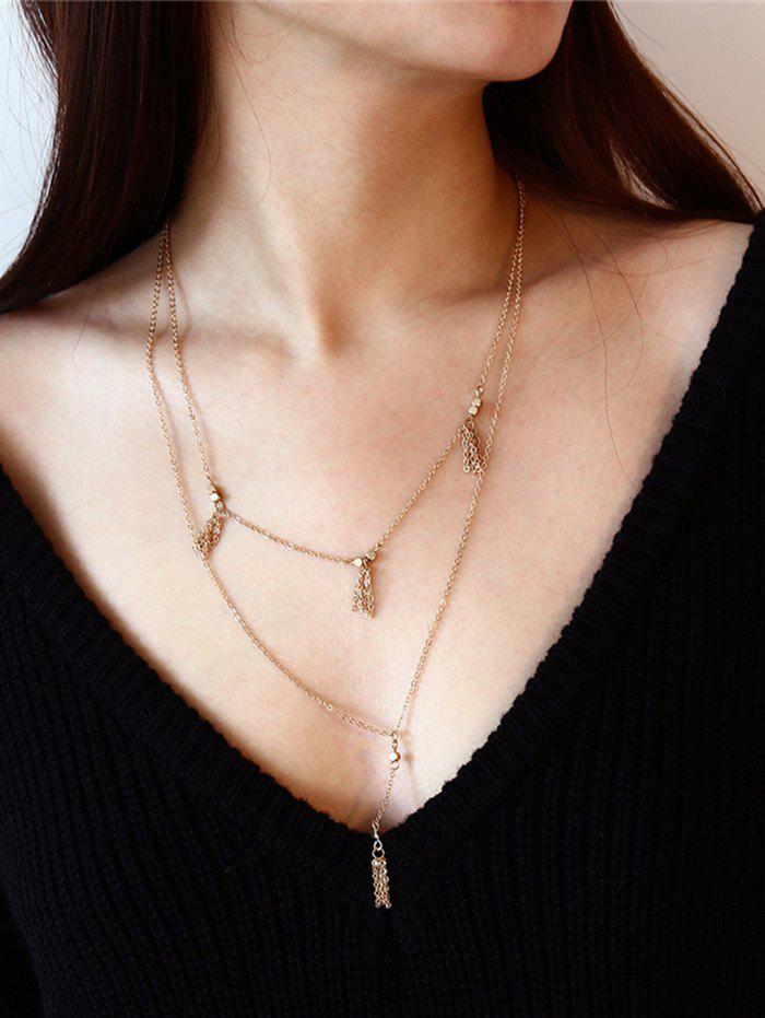 Layered Fringed Chain Pendant Necklace triangle fringed paillette pendant necklace