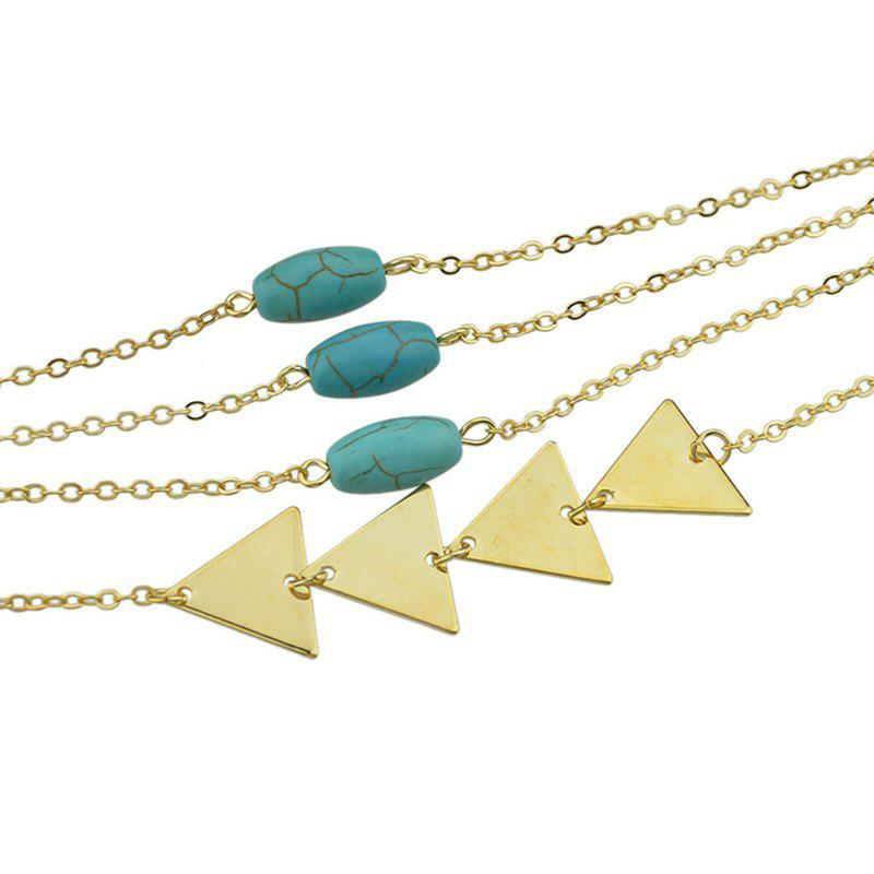 Layered Faux Turquoise Triangle Chain Bracelet - GOLDEN