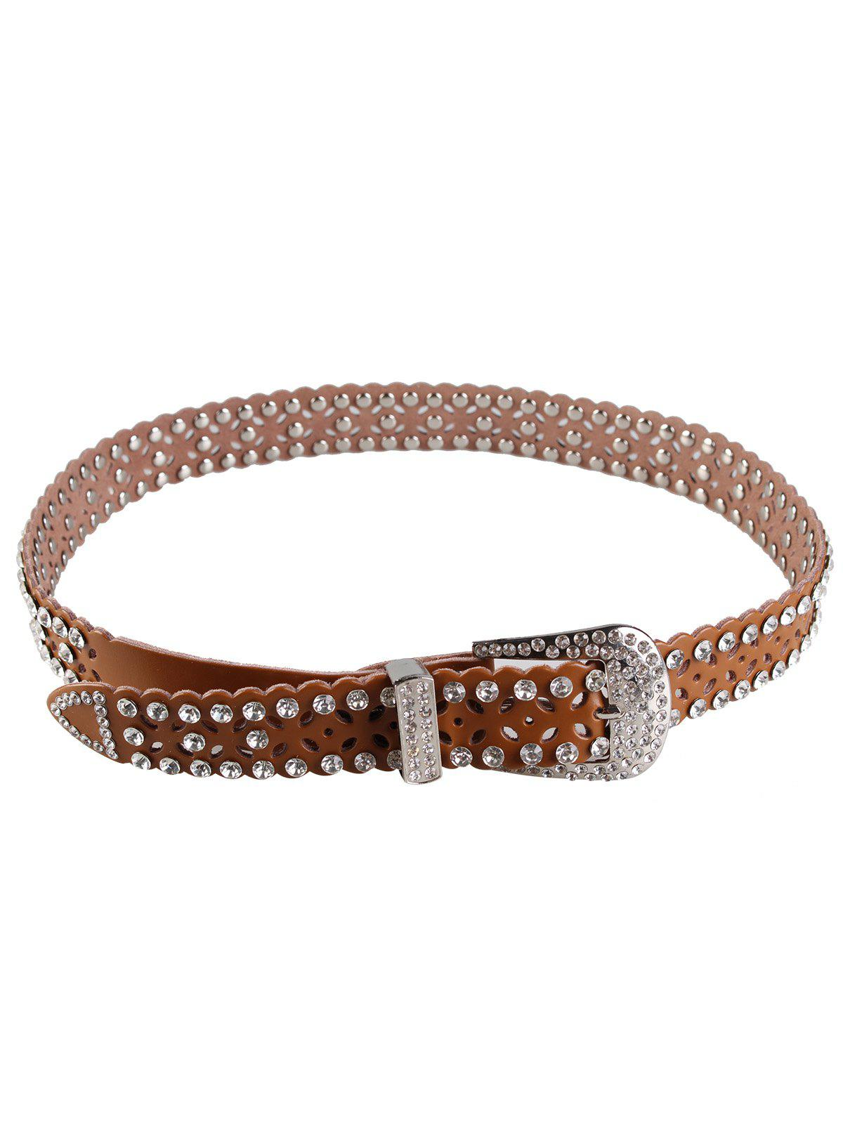 Rhinestone Hollow Out Decorated Faux Leather Waist Belt цена 2017