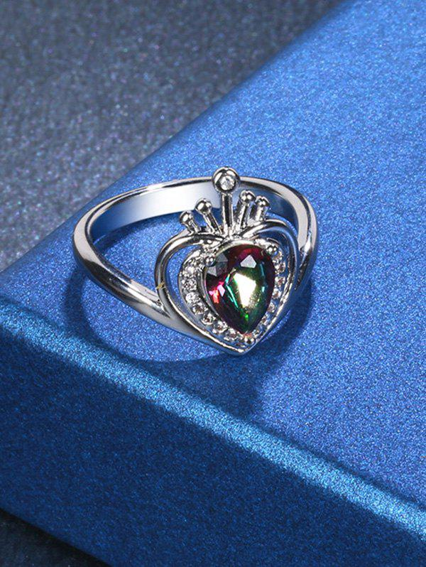 Rhinestone Valentine's Day Heart Finger Ring - SILVER 8