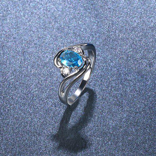 Faux Aquamarine Oval Simple Finger Ring - SILVER 8