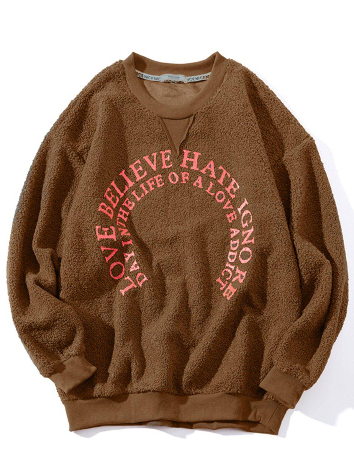 Sweat-Shirt Pull-Over Graphique Velours d'Agneau - Camel M