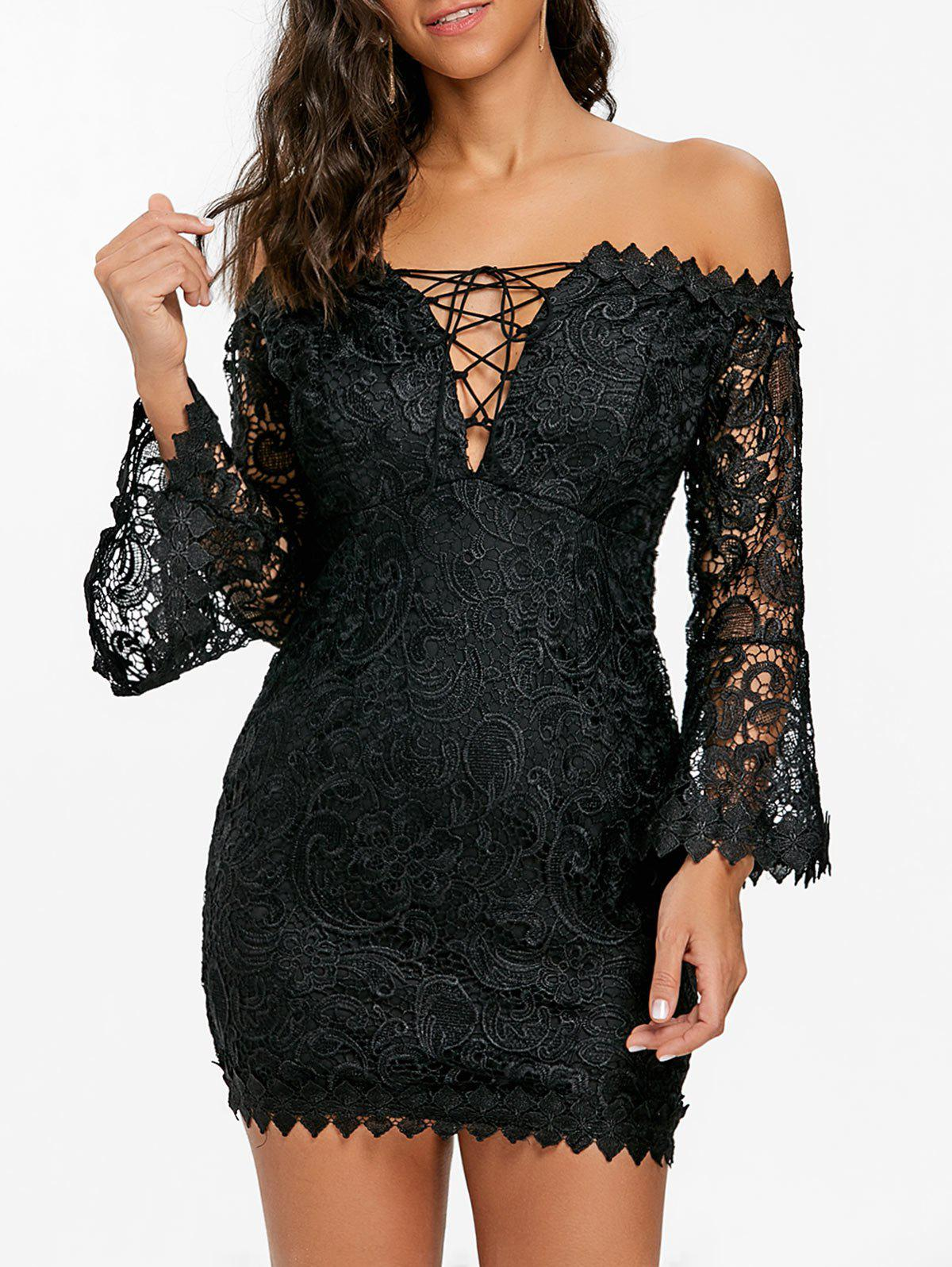 Lace Off The Shoulder Mini Dress - BLACK S