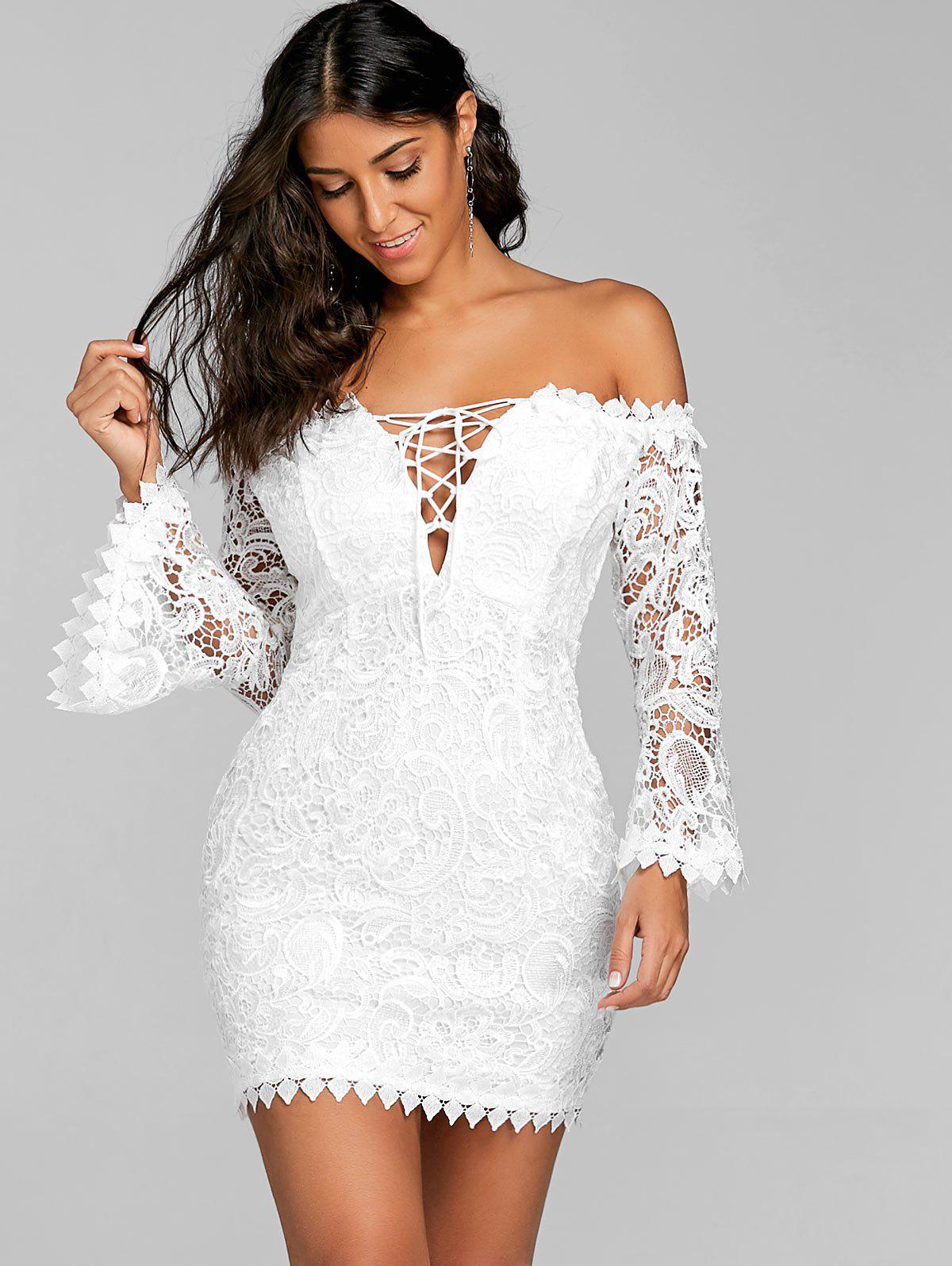 Lace Off The Shoulder Mini Dress - WHITE L