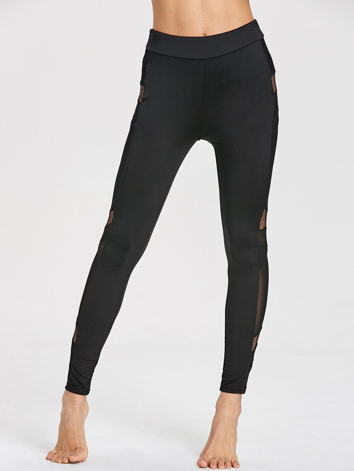 High Waist Mesh Insert Gym Leggings - BLACK XL