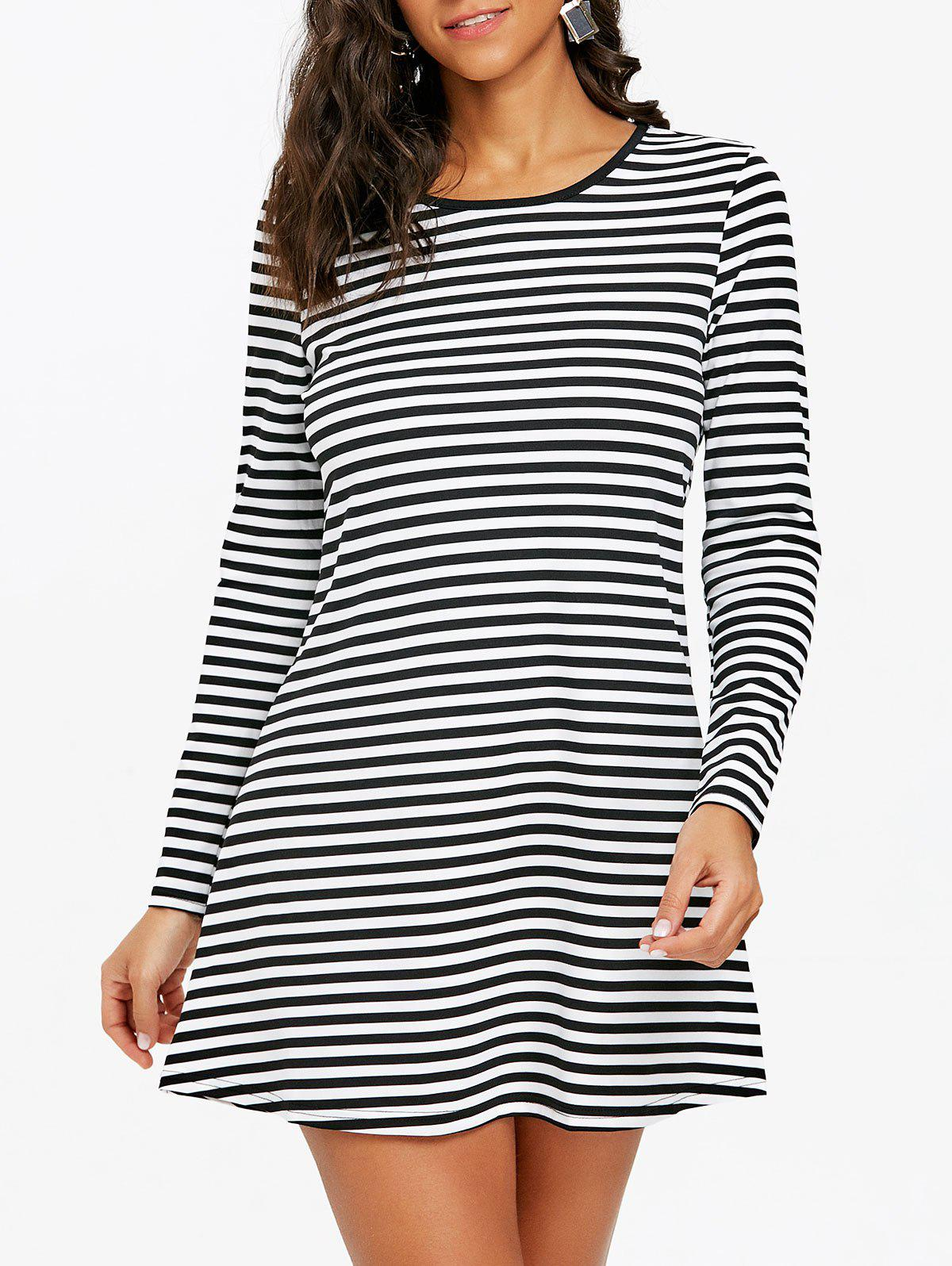 Striped Mini T-shirt Dress - BLACK WHITE XL