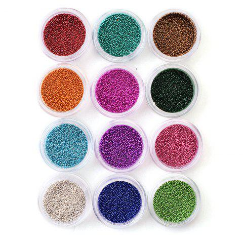 Professional 12 Colors Acrylic Nail Rhinestone Pearl Nail DIY Sticker - multicolor