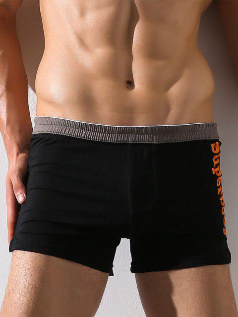Graphic Embroidery Elastic Waist Boxer Brief - BLACK L