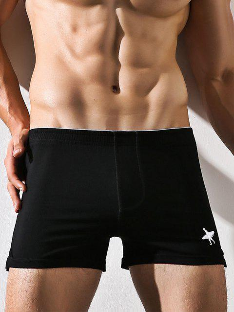 Embroidery Elastic Waist Boxer Brief - BLACK 2XL