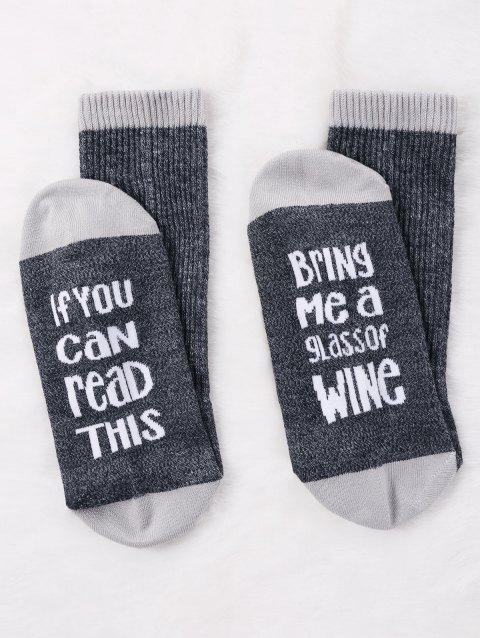 Pair Of Letter Print Contrast Graphic Socks - GRAY