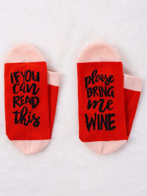 Pair Of Contrast Letter Printed Graphic Socks - RED