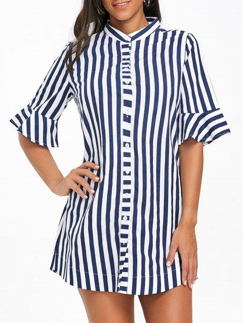 Stripe Flare Sleeve Tunic Shirt - BLUE STRIPE S