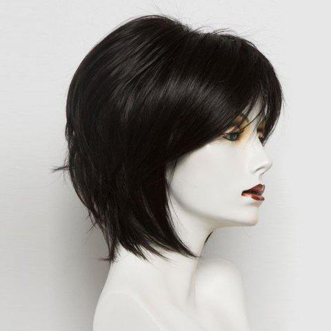 Short Inclined Bang Straight Real Human Hair Wig - BLACK