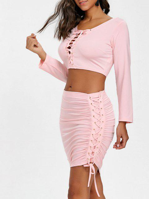 Asymmetric Lace Up Skirt and Crop Top - PINK L