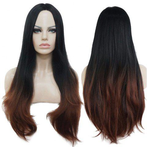 Long Center Parting Layered Straight Ombre Synthetic Fiber Wig - COLORMIX